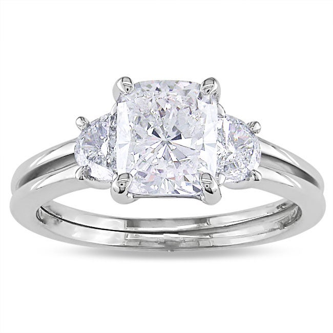 Miadora 14k White Gold 2 1/10ct TDW Cushion-cut Diamond 3-stone Ring