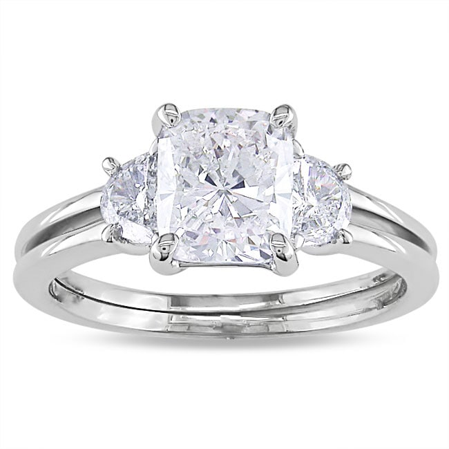 Miadora 14k White Gold 2 1/10ct TDW Cushion-cut Diamond 3-stone Ring - Thumbnail 0