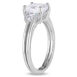 Miadora 14k White Gold 2 1/10ct TDW Cushion-cut Diamond 3-stone Ring - Thumbnail 1