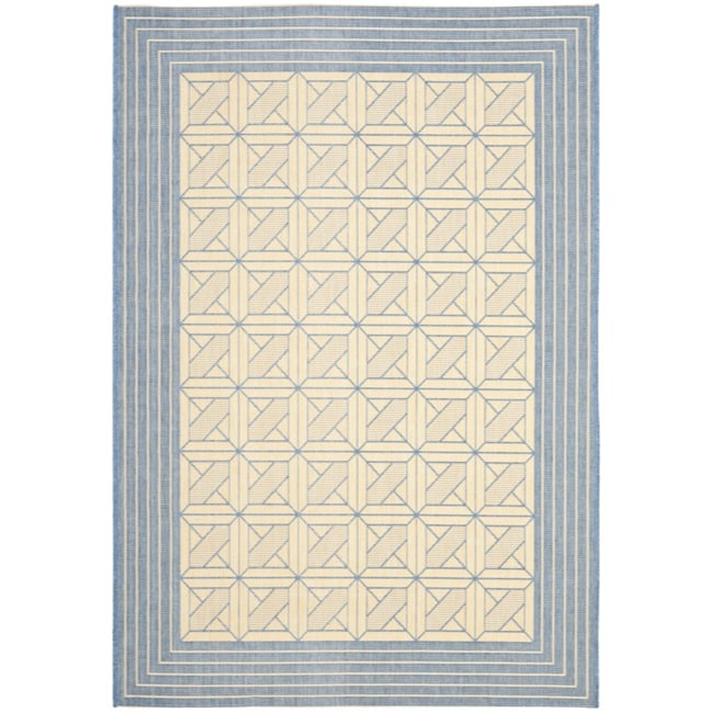 Safavieh Courtyard Poolside Natural/ Blue Indoor/ Outdoor Rug (5'3 x 7'7)