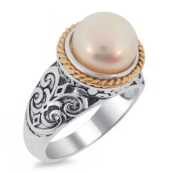 Meredith Leigh 14k Gold and Sterling Silver FW Pearl Ring (9.5-10 mm) - Thumbnail 1