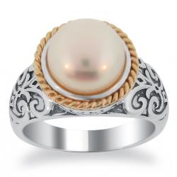 Meredith Leigh 14k Gold and Sterling Silver FW Pearl Ring (9.5-10 mm)|https://ak1.ostkcdn.com/images/products/79/328/P14191479.jpg?impolicy=medium