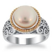 Meredith Leigh 14k Gold and Sterling Silver FW Pearl Ring (9.5-10 mm)