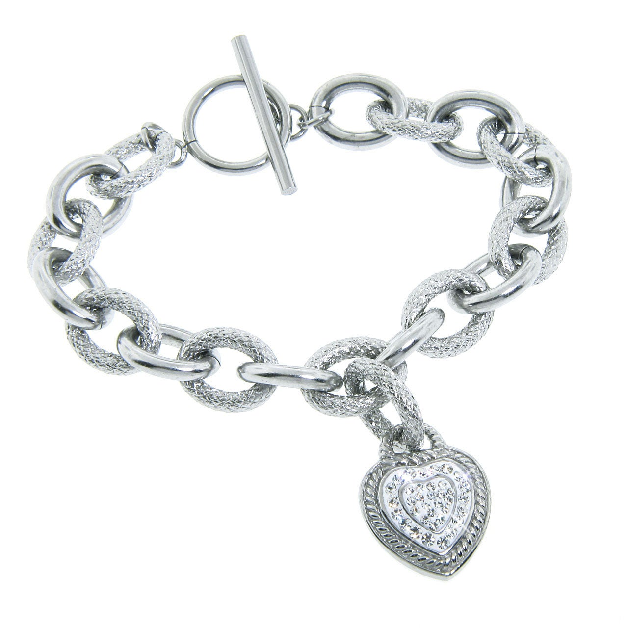 Eternally Haute Stainless Steel White Czech Crystal Heart Bracelet