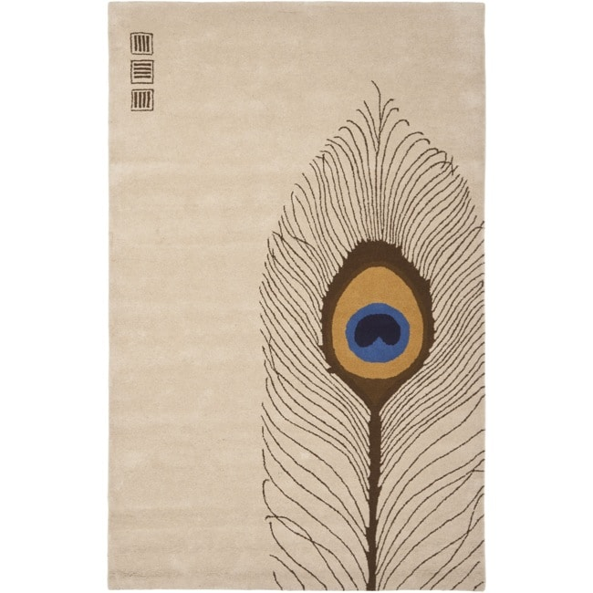 Safavieh Handmade Soho Peacock Feather Beige New Zealand Wool Rug (5'x 8')