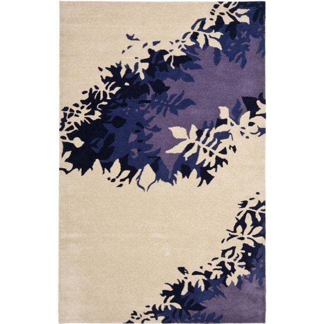 Safavieh Handmade Soho Silhouette Beige New Zealand Wool Rug - 3'6 x 5'6'