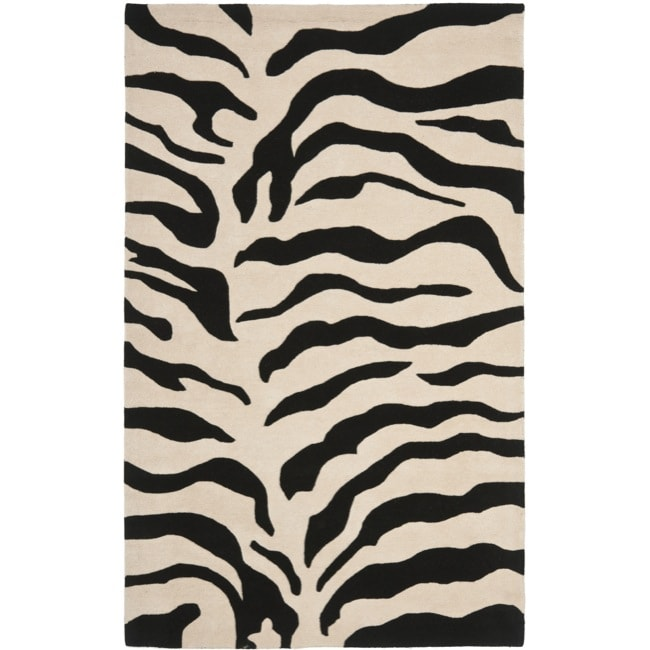 Safavieh Handmade Soho Zebra Beige/ Black New Zealand Wool Rug (7'6 x 9'6)