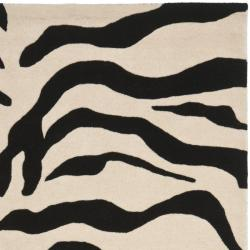 Safavieh Handmade Soho Zebra Beige/ Black New Zealand Wool Rug (7'6 x 9'6) - Thumbnail 1