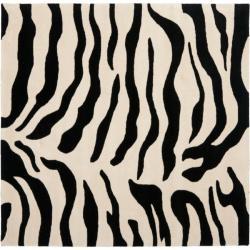Safavieh Handmade Soho Zebra Beige/ Black New Zealand Wool Rug (6' Square) - 6' Square - Thumbnail 0