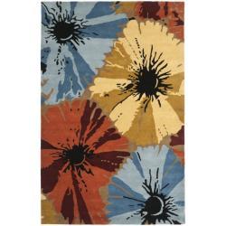 Safavieh Handmade Soho Floral Brown New Zealand Wool Rug (3'6 x 5'6')