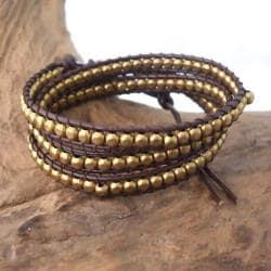'Golden Shine' Brass Beads Leather Wrap Bracelet (Thailand) - Thumbnail 1
