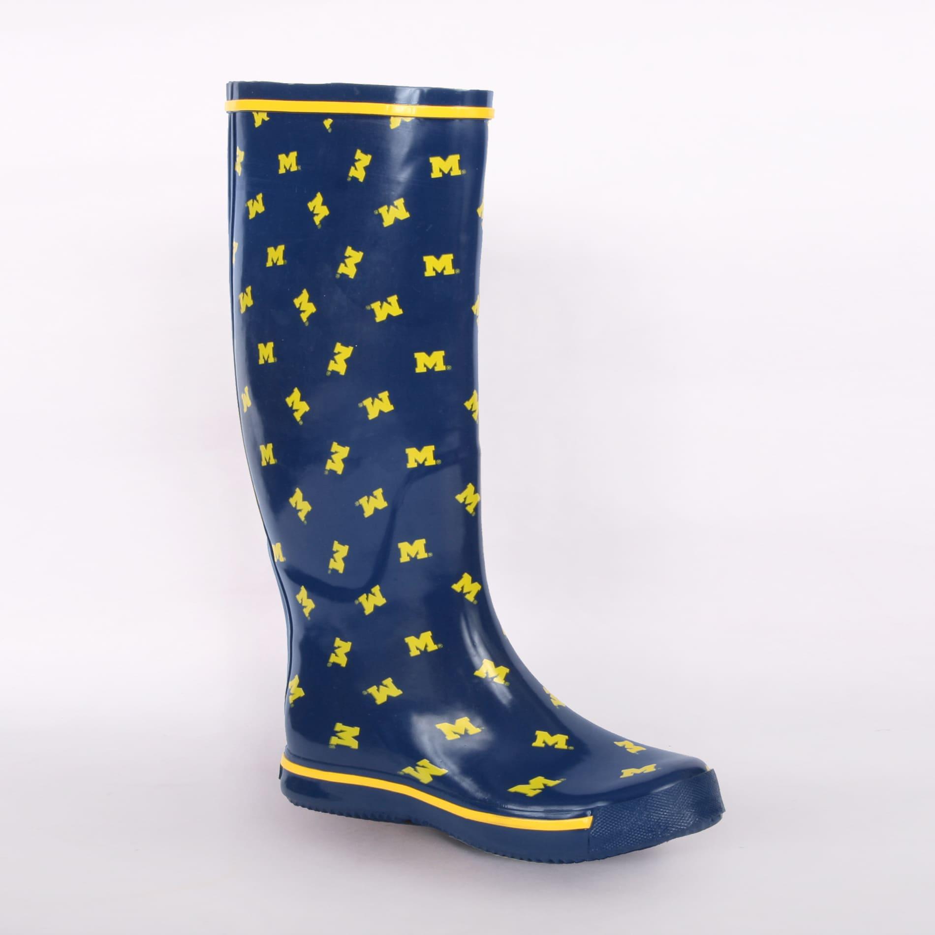 Michigan Wolverines Women's Scattered Logo Rain Boots