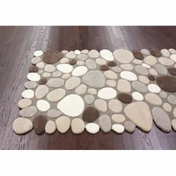 nuLOOM Handmade Mona Pebbles Beige Wool Rug (5' x 7')