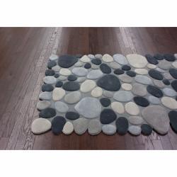nuLOOM Handmade Mona Pebbles Grey Wool Rug (6' x 9') - Thumbnail 1
