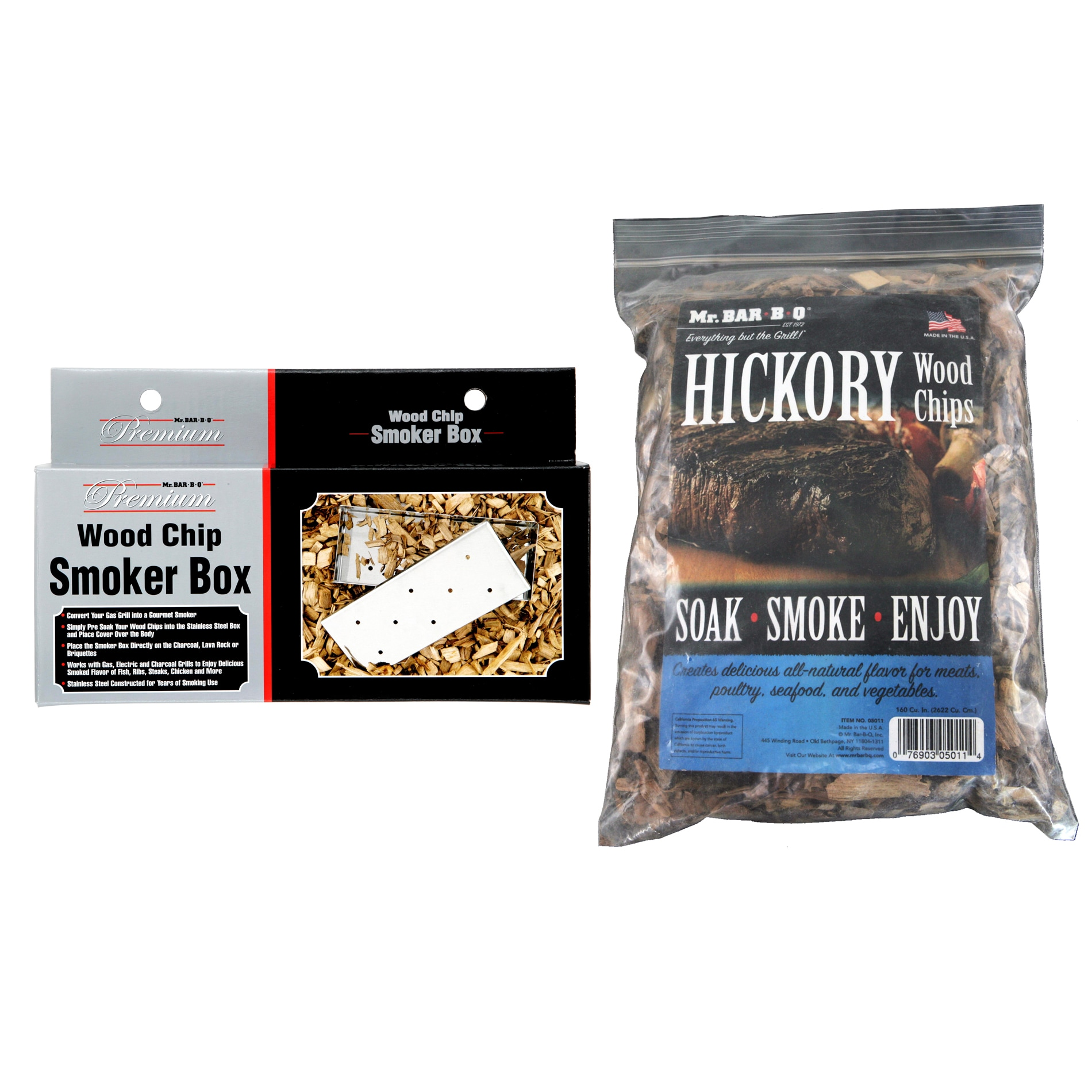 Mr. BBQ Stainless Steel Smoker Box with Hickory Wood Chips