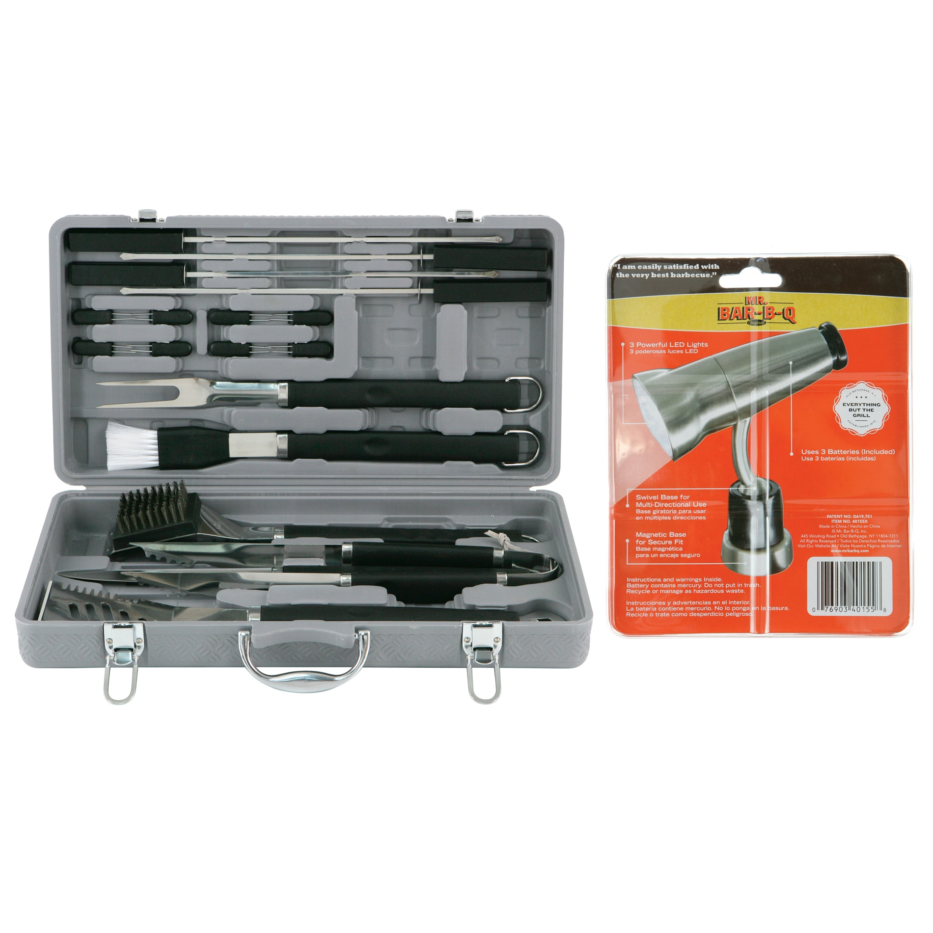 Mr. BBQ 18-piece Finger Grip Tool Set with Magnetic Light