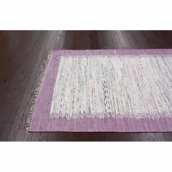 nuLOOM Handmade Mona Kilim Flatweave Lavender Cotton Rug (6' x 9') - Thumbnail 1