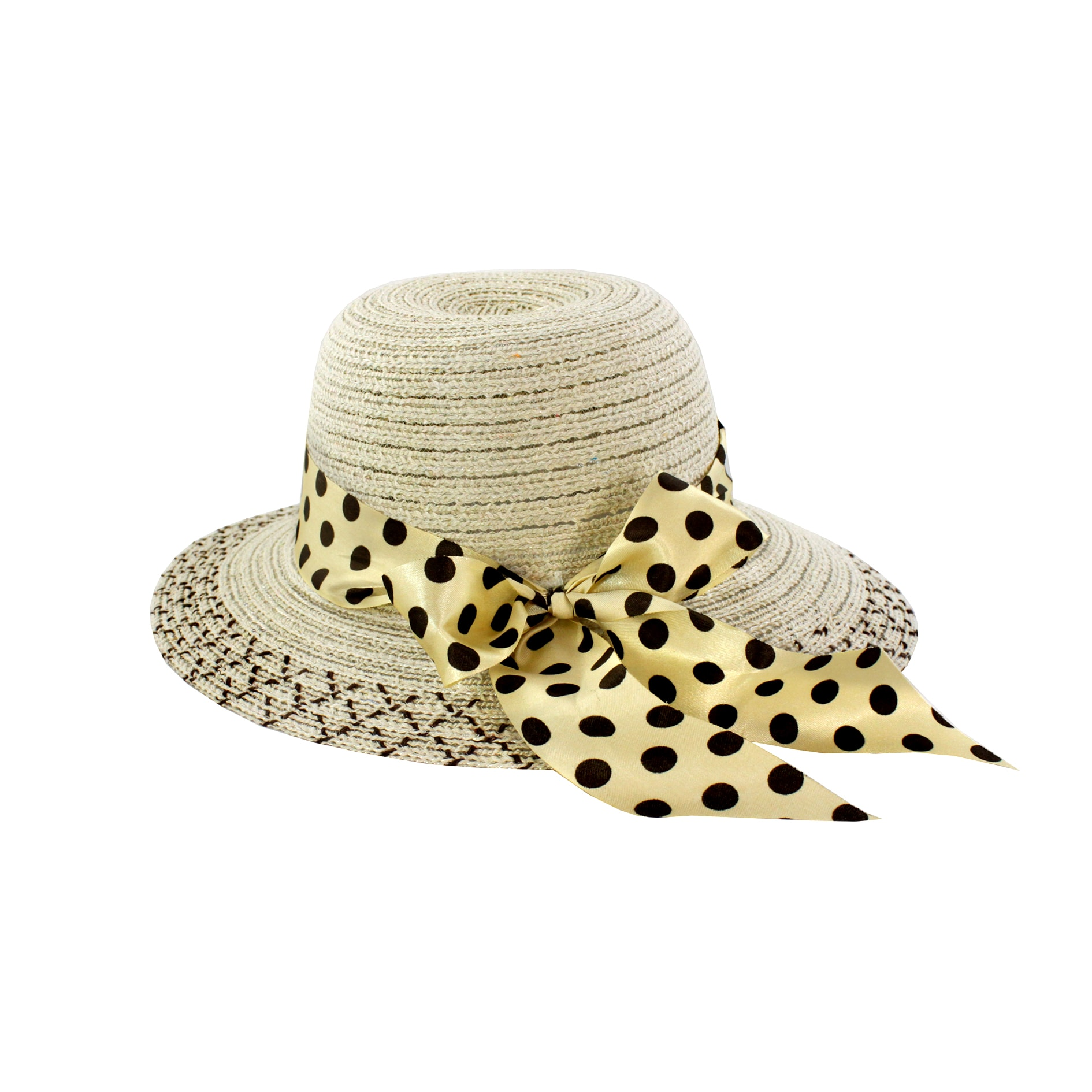 Faddism Women's Beige Bow Detail Sun Hat