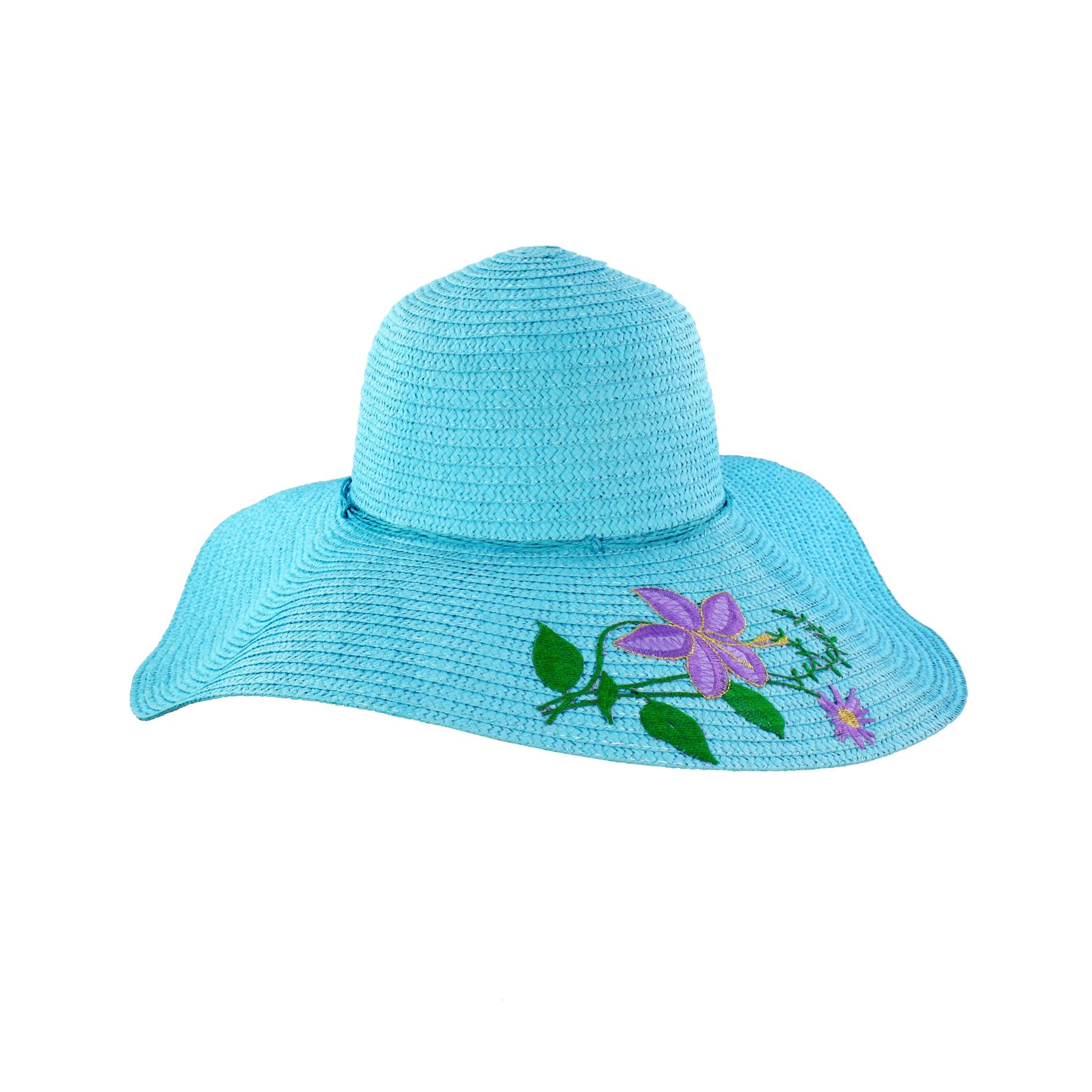 Faddism Women's Blue Flower Straw Sun Hat