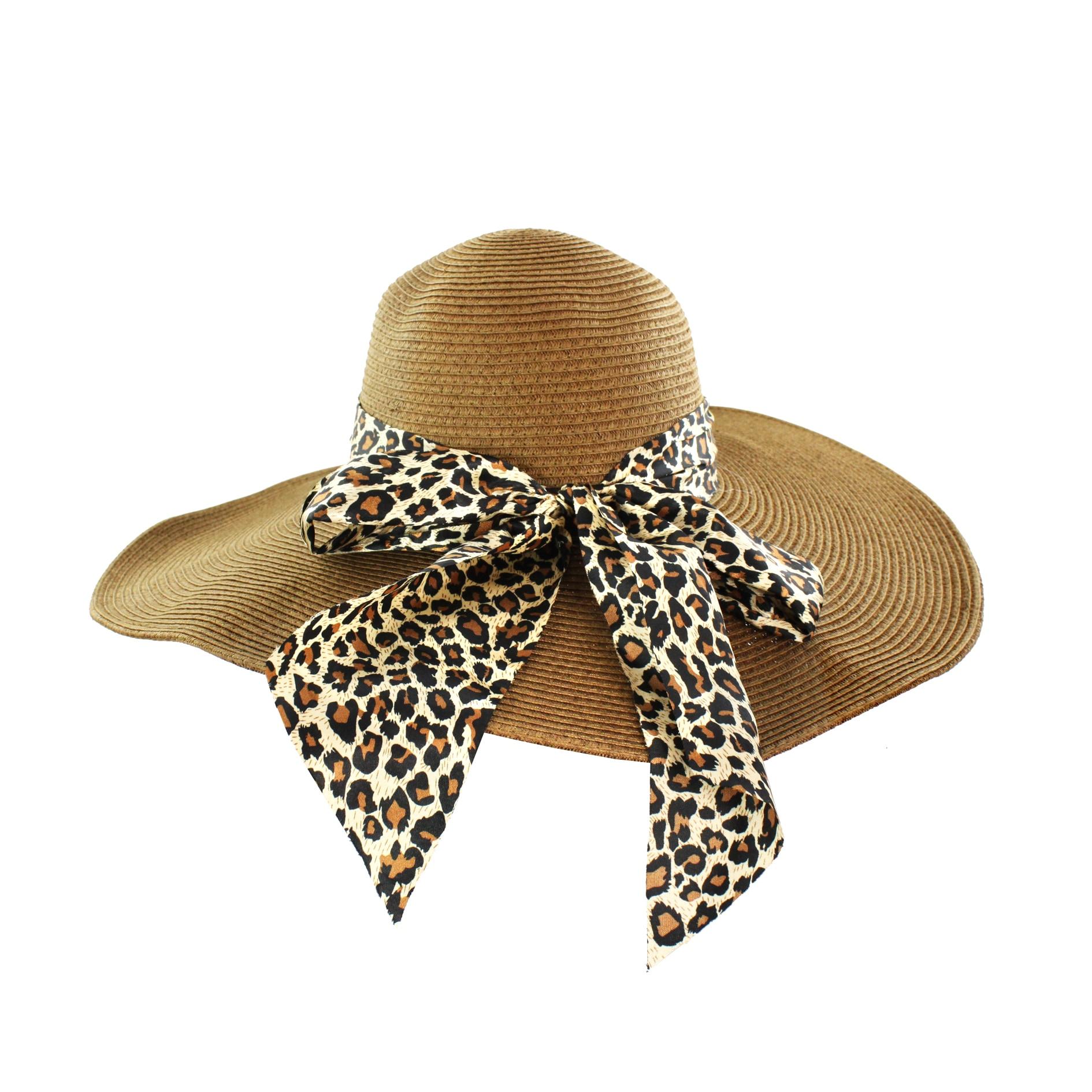 Faddism Women's Brown Ribbon Straw Sun Hat