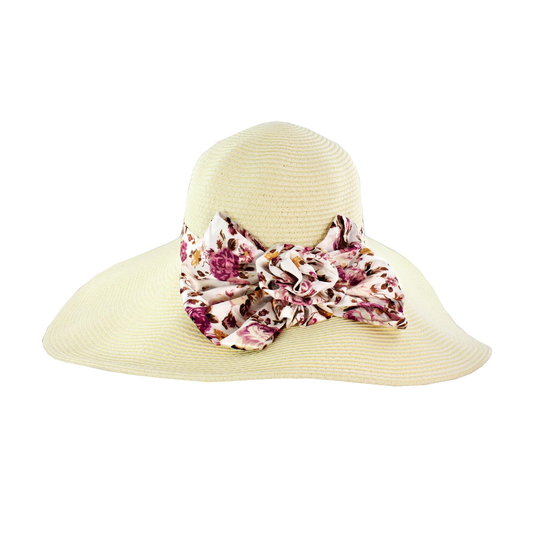 Faddism Women's Beige Ribbon Straw Sun Hat