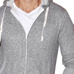 191 Unlimited Men's Grey Terry Cloth Hoodie - Thumbnail 2