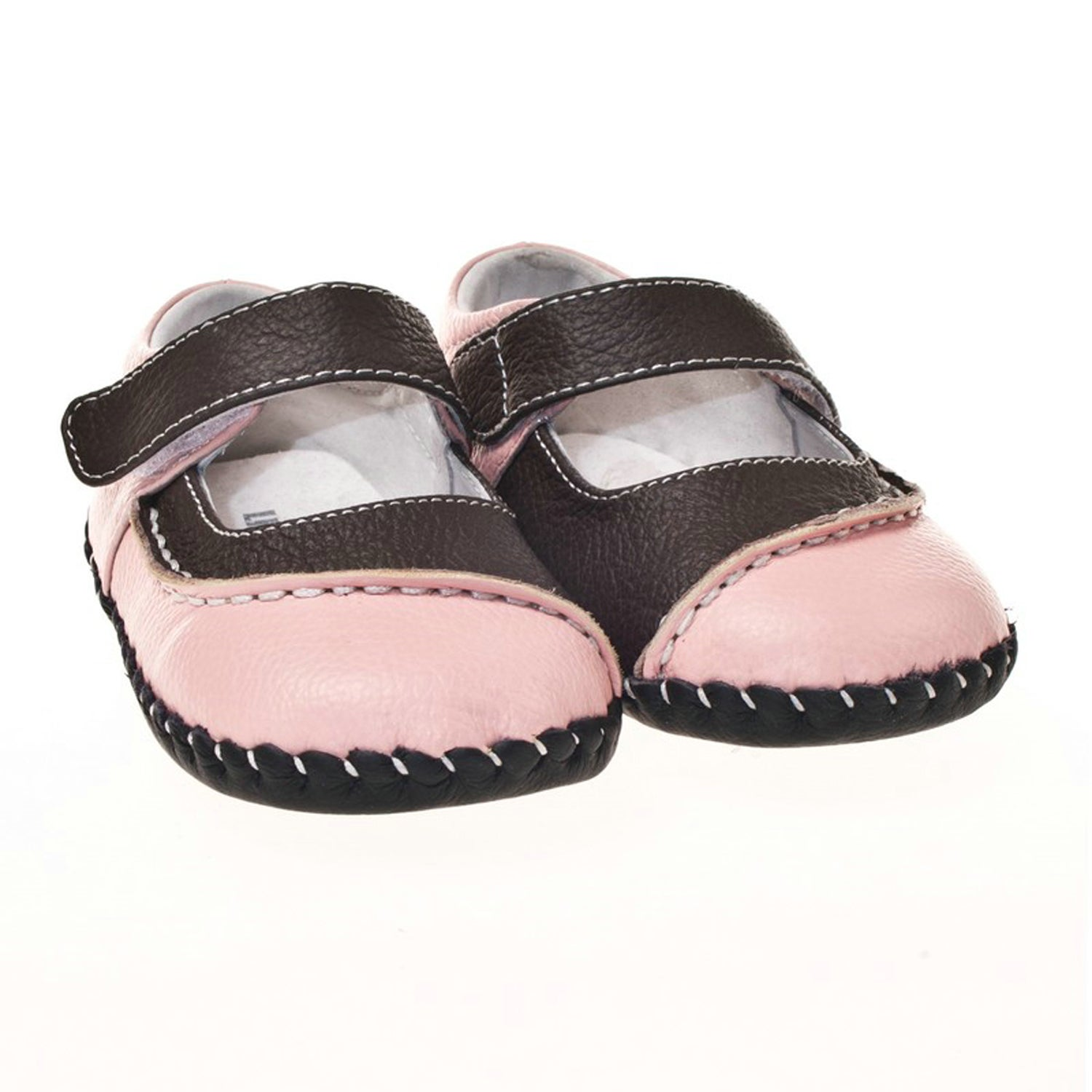 Little Blue Lamb Infant/ Toddler Hand-stitched Pink Leather Walking Shoes