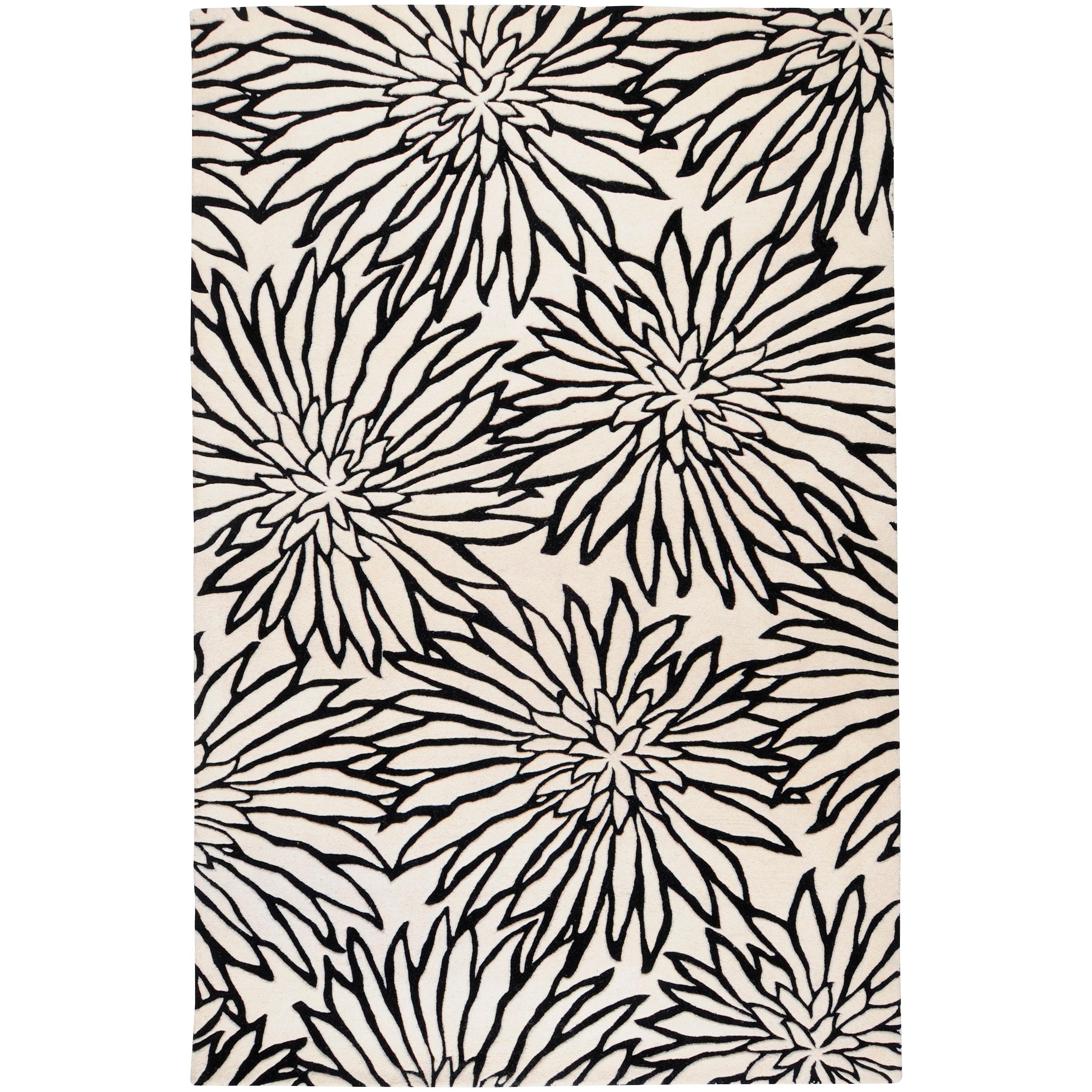 Hand-tufted White Habala New Zealand Wool Rug (3'3 x 5'3)