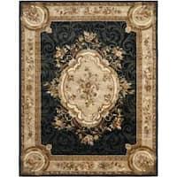Safavieh Handmade French Aubusson Black Premium Wool Rug - 9'6 x 13'6
