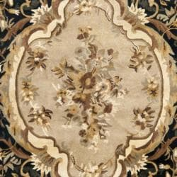 Safavieh Handmade French Aubusson Black Premium Wool Rug (6' x 9') - Thumbnail 2