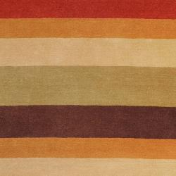 Hand-crafted Multi Colored Stripe Bory Wool Rug (3'3 x 5'3) - Thumbnail 1