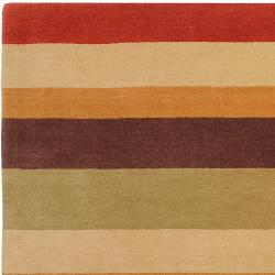 Hand-crafted Multi Colored Stripe Bory Wool Rug (3'3 x 5'3) - Thumbnail 2