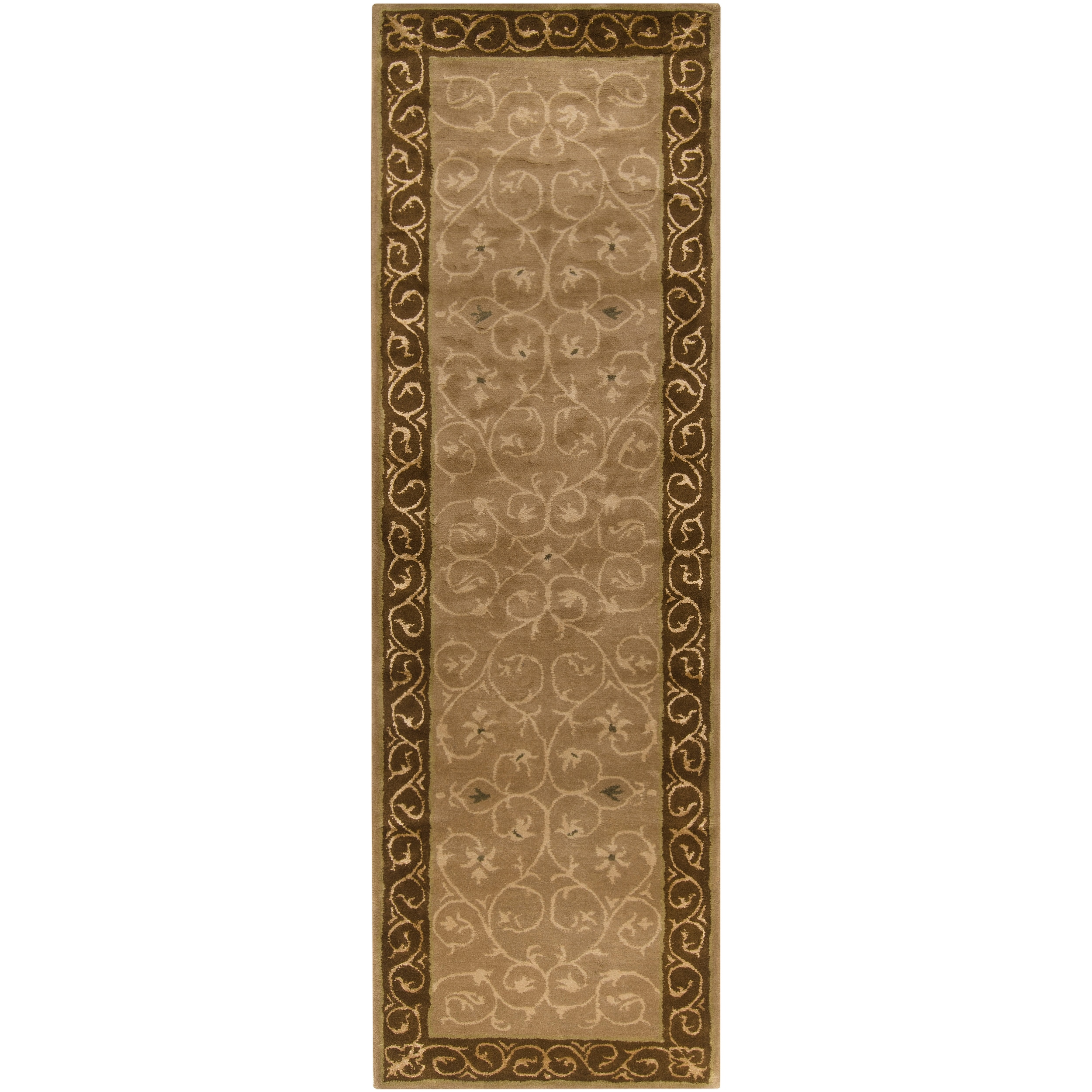 Hand-tufted Brown Sarie Wool Rug (3' x 12')