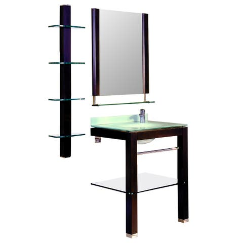 Decolav Espresso Stained Vanity with Matching Mirror, Shelf and Sink