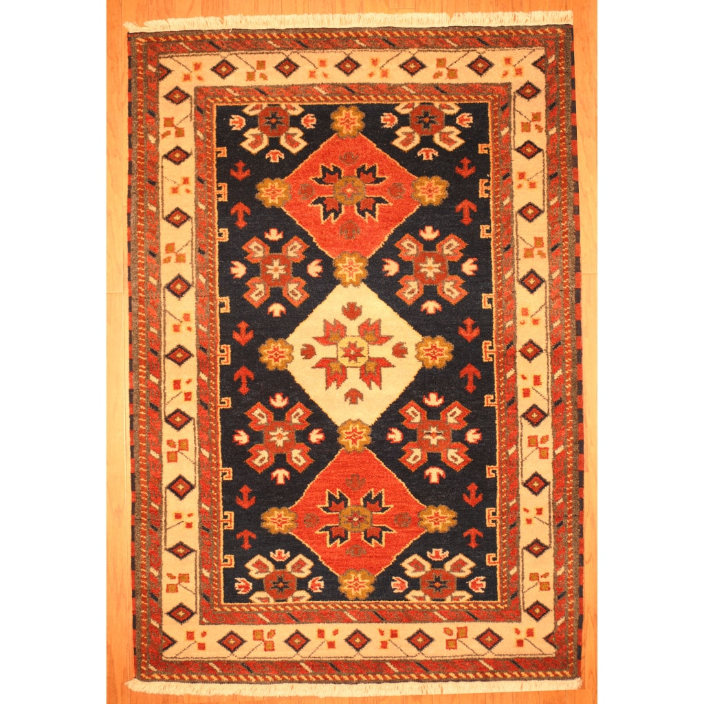 Indo Hand-knotted Kazak Navy/ Ivory Wool Rug (4' x 6')