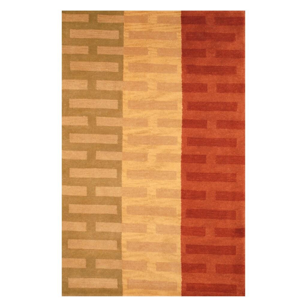 Indo Hand-knotted Tibetan Beige/ Rust Wool Rug (3'7 x 5'6)