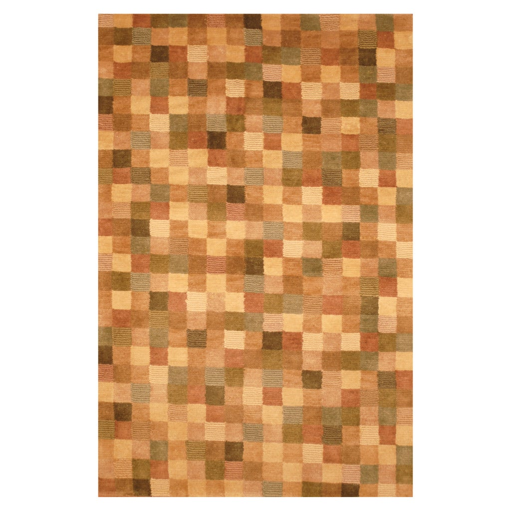 Indo Hand-knotted Tibetan Beige/ Brown Wool Rug (3'7 x 5'6)