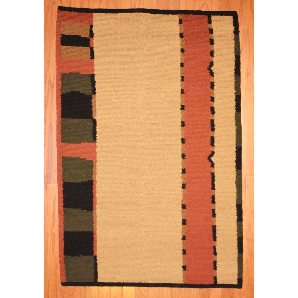 Indo Hand-knotted Tibetan Beige/ Salmon Wool Rug (3'7 x 5'6)