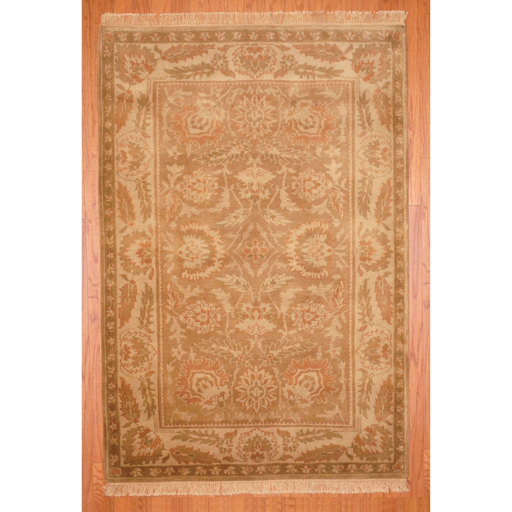 Indo Hand-knotted Tibetan Beige/ Rust Wool Rug (4' x 6')