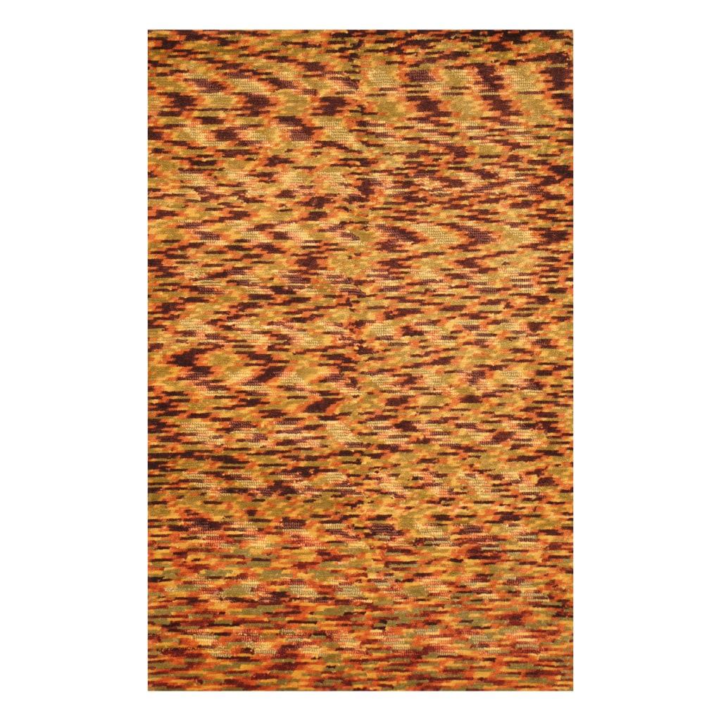 Indo Hand-knotted Tibetan Green/ Burgundy Wool Rug (3'8 x 5'6)
