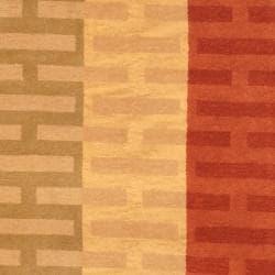 Indo Hand-knotted Tibetan Beige/ Rust Wool Rug (3'7 x 5'6) - Thumbnail 1