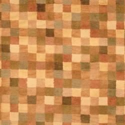 Indo Hand-knotted Tibetan Beige/ Brown Wool Rug (3'7 x 5'6) - Thumbnail 1
