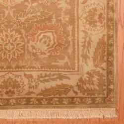 Indo Hand-knotted Tibetan Beige/ Rust Wool Rug (4' x 6') - Thumbnail 2