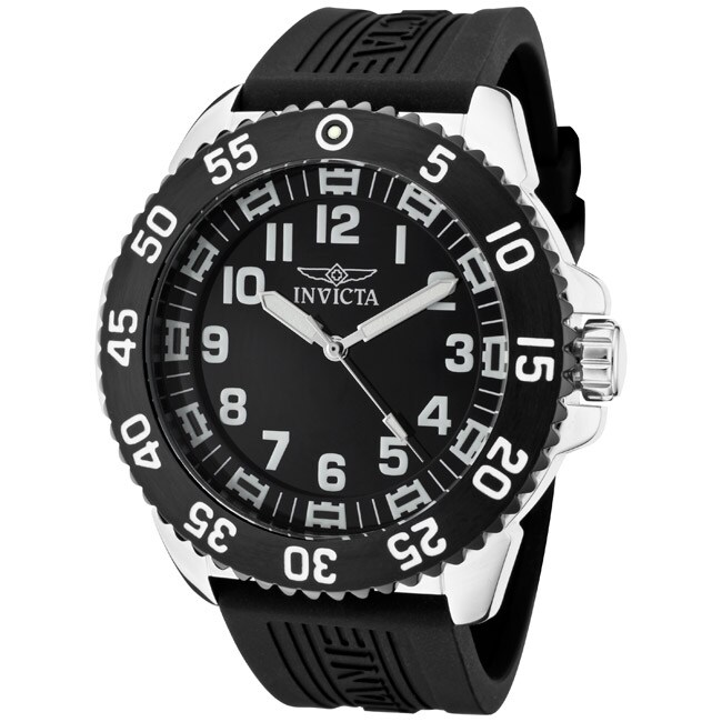 1d285bf4e Shop Invicta Men's 'Pro Diver' Black Polyurethane Watch - Free Shipping  Today - Overstock - 6633020