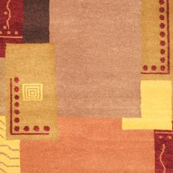 Indo Hand-knotted Tibetan Beige/ Yellow Wool Rug (4'2 x 6'3)