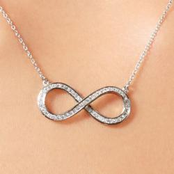 ABO Enterprises 16-inch Round Cut CZ Infinity Necklace
