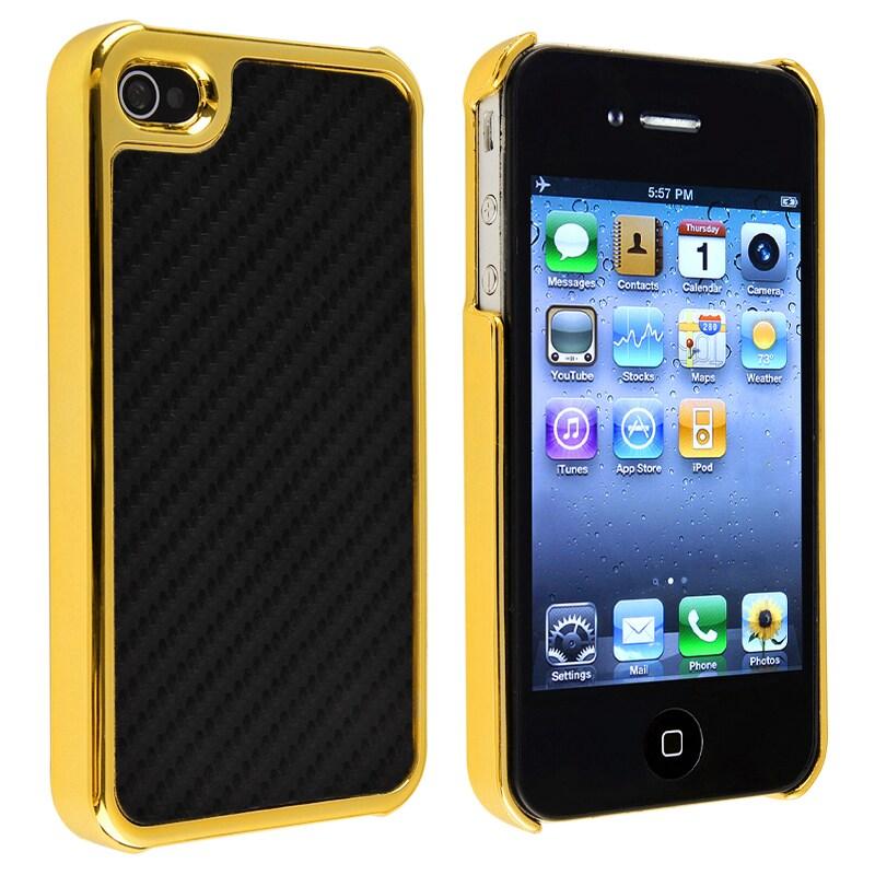 Black Carbon Fiber with Golden Side Case for Apple iPhone 4/ 4S