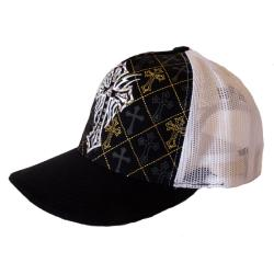 Women's Black and White Rhinestone Cross Trucker Hat