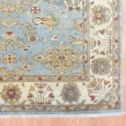 Indo Hand-knotted Oushak Light Blue/ Ivory Wool Rug (6' x 8'9)