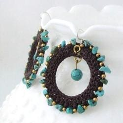 Magic Moon Blue Turquoise Stone Cotton Roop Hoop Earrings (Thailand) - Thumbnail 1